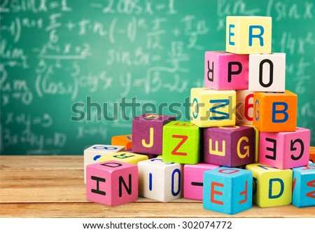 Toy, block, alphabet. - stock photo