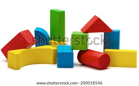 toy blocks heap, multicolor wooden bricks stack isolated white background - stock photo