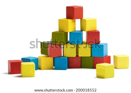 toy blocks pyramid, multicolor wooden bricks stack isolated white background - stock photo