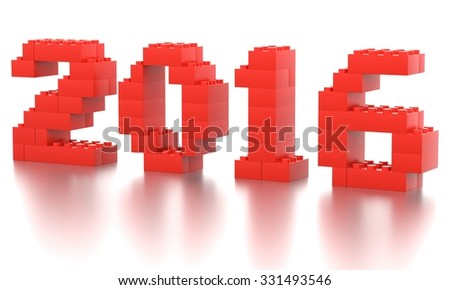 Toy bricks 2016 year  over a white background. Part of a series. - stock photo