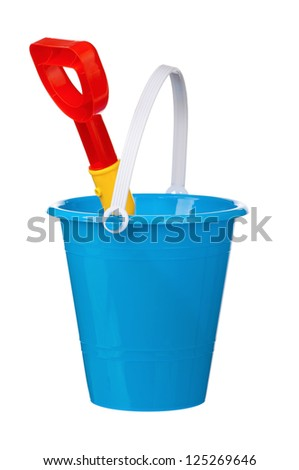 Toy bucket and spade - stock photo