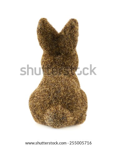 Toy bunny statuette isolated over the white background - stock photo