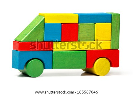 toy bus, multicolor car wooden blocks, transport over white background  - stock photo