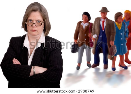 Toy Business team led by Real business woman - stock photo
