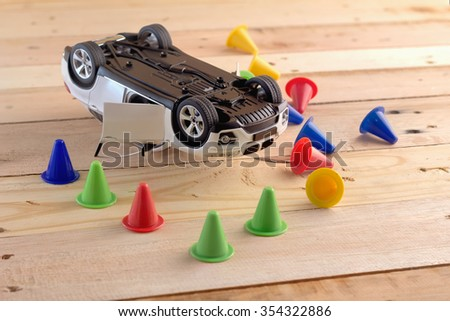 toy car Involved In Accident drunk drive concept - stock photo