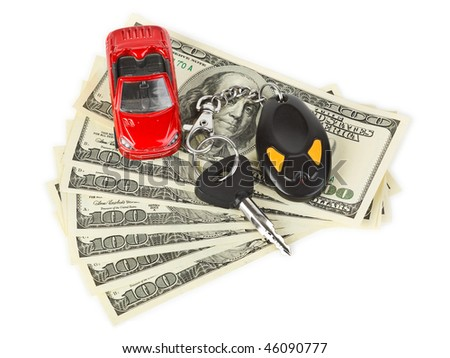 Toy car, keys and money isolated on white background - stock photo