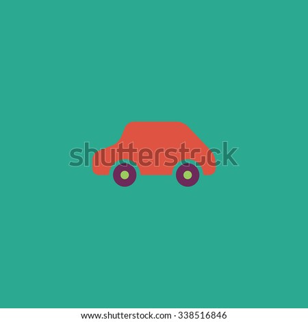 Toy Car logo template. Colored simple icon. Flat retro color modern illustration symbol - stock photo