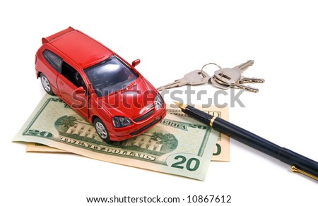 Toy car, money and pen over white. Rent or buy car concept - stock photo