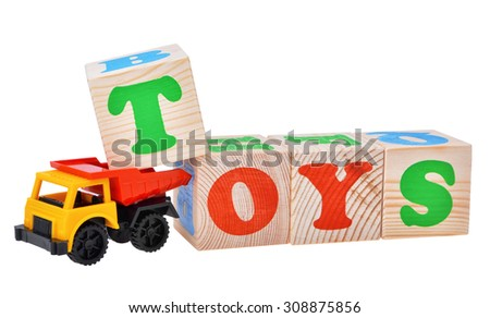toy car truck isolated with wooden cubes isolated on  white background - stock photo