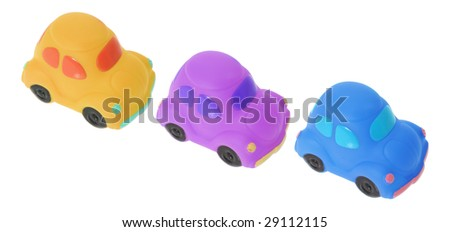Toy Cars on Isolated White Background