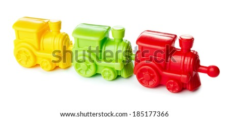 Toy colored train isolated on white background  - stock photo