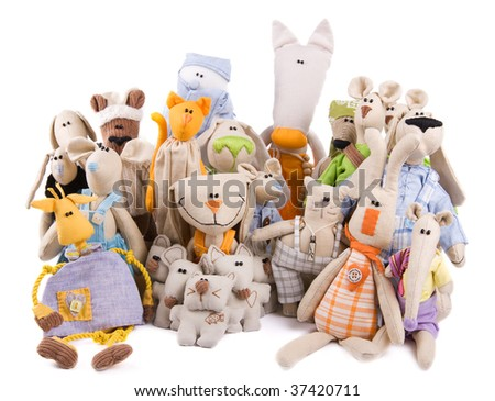 Toy company - many toys in ? group isolated - stock photo