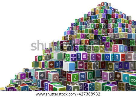 Toy cube blocks abstract, isolated, 3d illustration, horizontal - stock photo