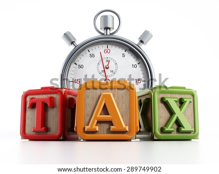 Toy cubes with the word TAX and chronometer isolated on white background. - stock photo