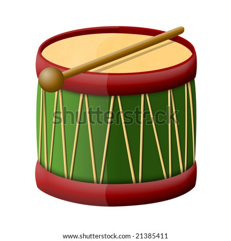 Toy drum with a drumsticks, illustration on white background - stock photo