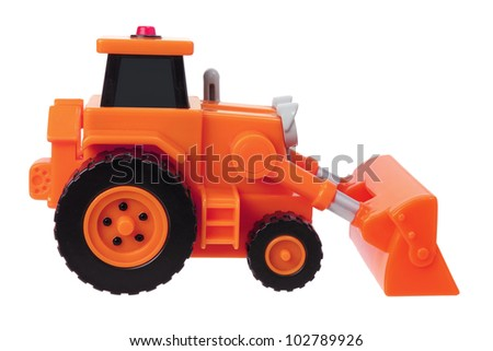 Toy Earthmover on White Background - stock photo