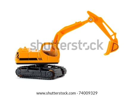 Toy excavator isolated on white background