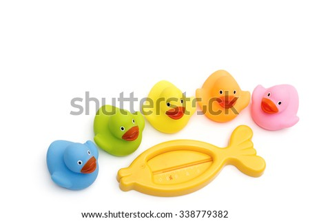 toy for bathing on the white background - stock photo