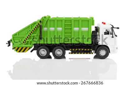 TOY garbage truck toy isolated on a white background - stock photo
