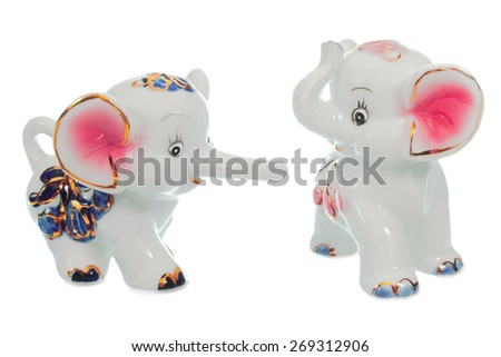 toy, glossy ceramic elephants, cute animals - stock photo