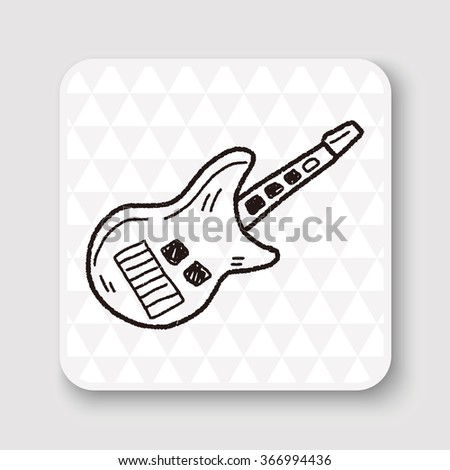 toy guitar doodle - stock photo