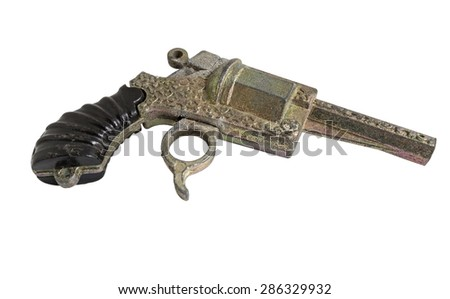toy gun on the white background - stock photo
