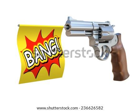 toy gun with bang flag - stock photo