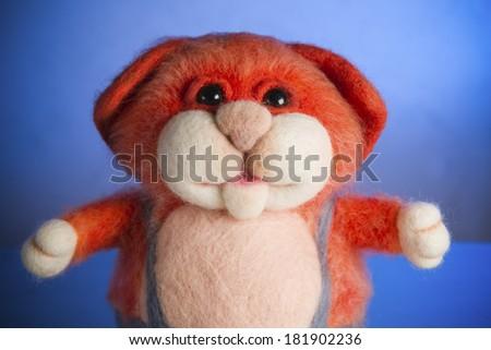 Toy handmade from felt. - stock photo