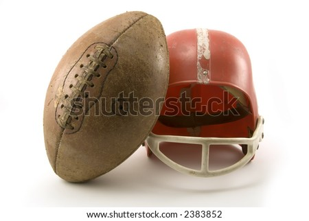 toy helmet and a football
