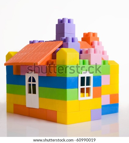 Toy house model on a white background