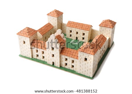 Toy houses clay brick kits realistic stock photo 458618710 for Mud brick kit homes
