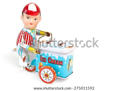 Toy ice man with cart on white background