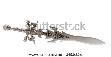 toy knight sword on a white background - stock photo