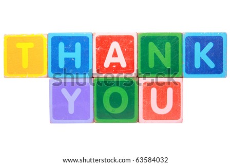toy letters that spell give thank you against a white background with clipping path