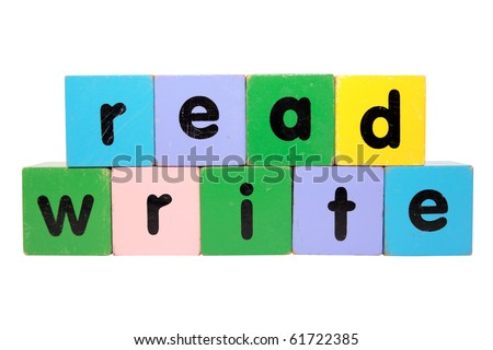 toy letters that spell read and write against a white background with clipping path - stock photo