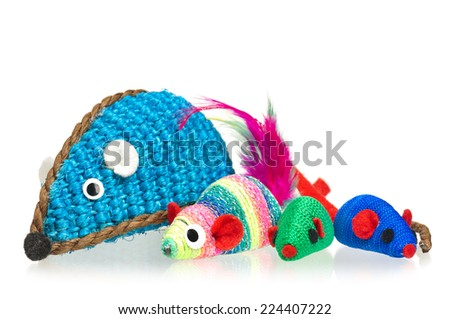 Toy mice for little kitten isolated on white background - stock photo