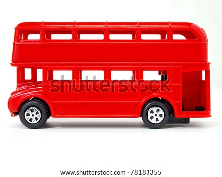 Toy model of red London Bus - stock photo