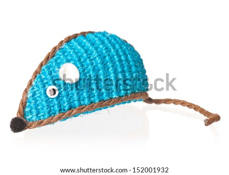 Toy mouse for little kitten isolated on white background - stock photo