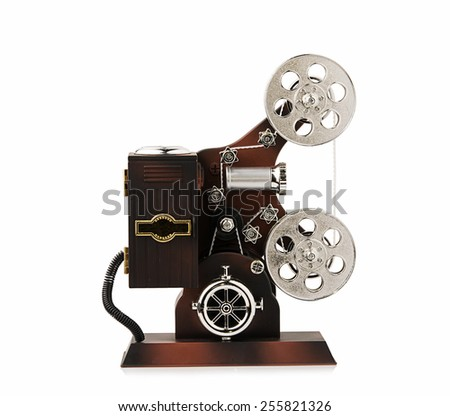 Toy Movie Camera on White Background - stock photo