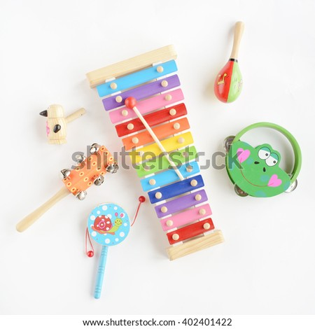 Toy Musical instruments collection on white background. Top view - stock photo