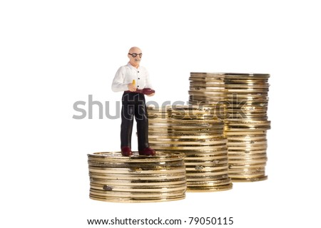 Toy of an elderly man standing on a stack of coins on a white background, representing the concept of retirement. - stock photo