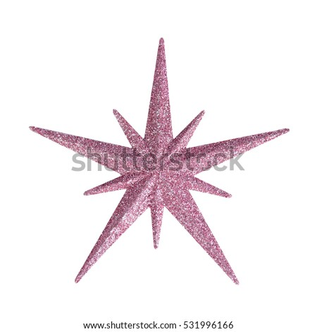 Toy pink Christmas star isolated on white background