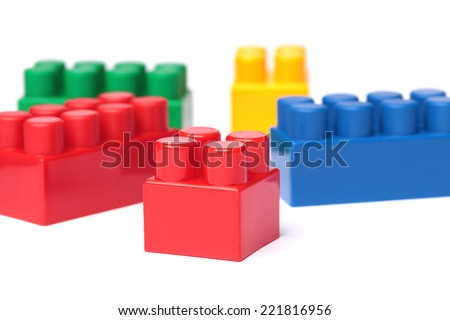 toy plastic building blocks, isolated on white - stock photo