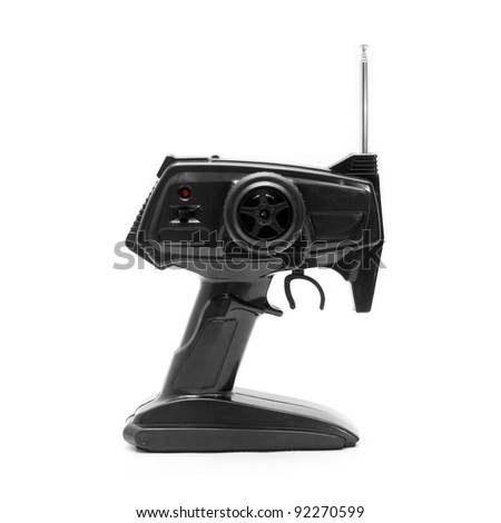 Toy RC Car Controller on White Background - stock photo