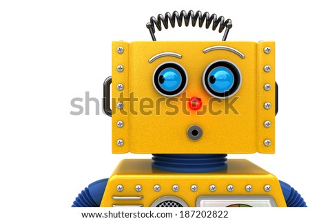 Toy robot looking to the left. Image can be flipped for opposite look. - stock photo