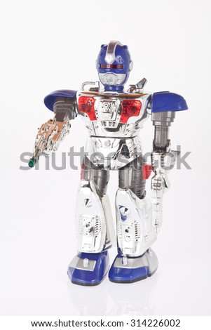 Toy robot on white background