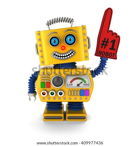 Toy robot with red foam finger celebrating its victory over white background - stock photo