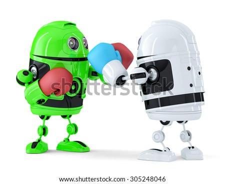 Toy robots fighting. Technology concept. Isolated over white. Contains clipping path - stock photo
