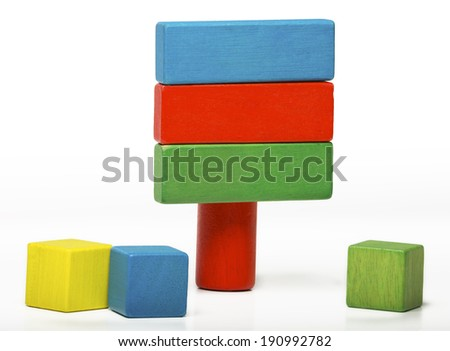 toy sign board isolated on white background, multicolor wooden information message blocks  - stock photo