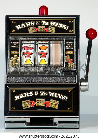 Toy Slot Machine Spinning - stock photo